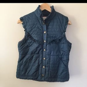 Free People Blue Quilted Ruffle Puffer Vest